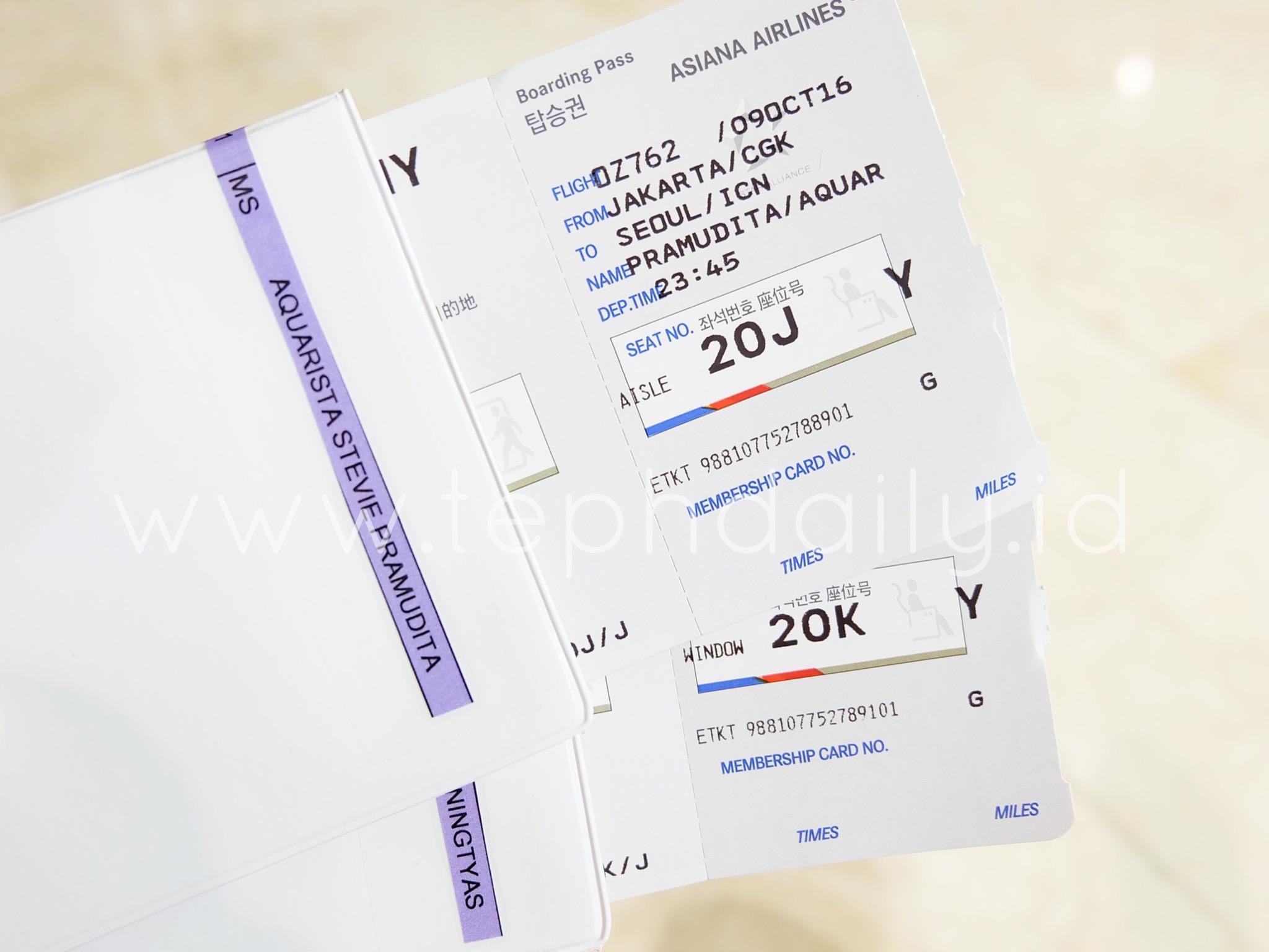 Asiana Boarding Pass Ticket
